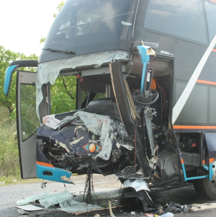 Автобус се обърна на пътя София-Дупница