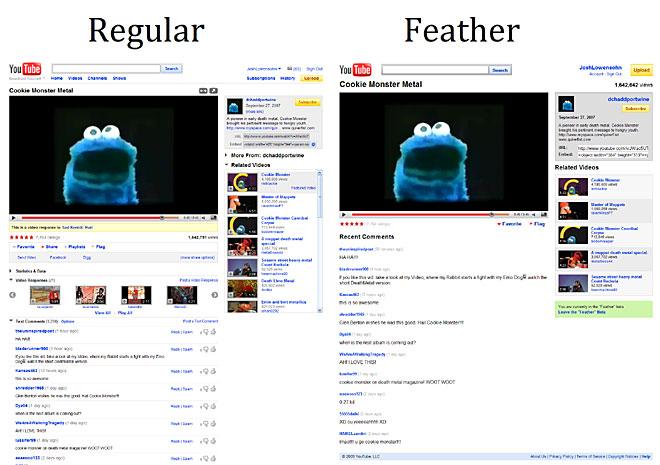 YouTube тества олекотена версия - Feather