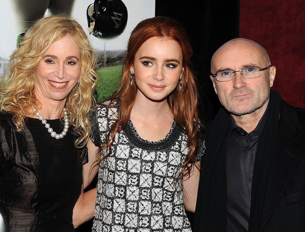 Фил Колинс с бившата си съпруга Джил и дъщеря им Лили Колинс