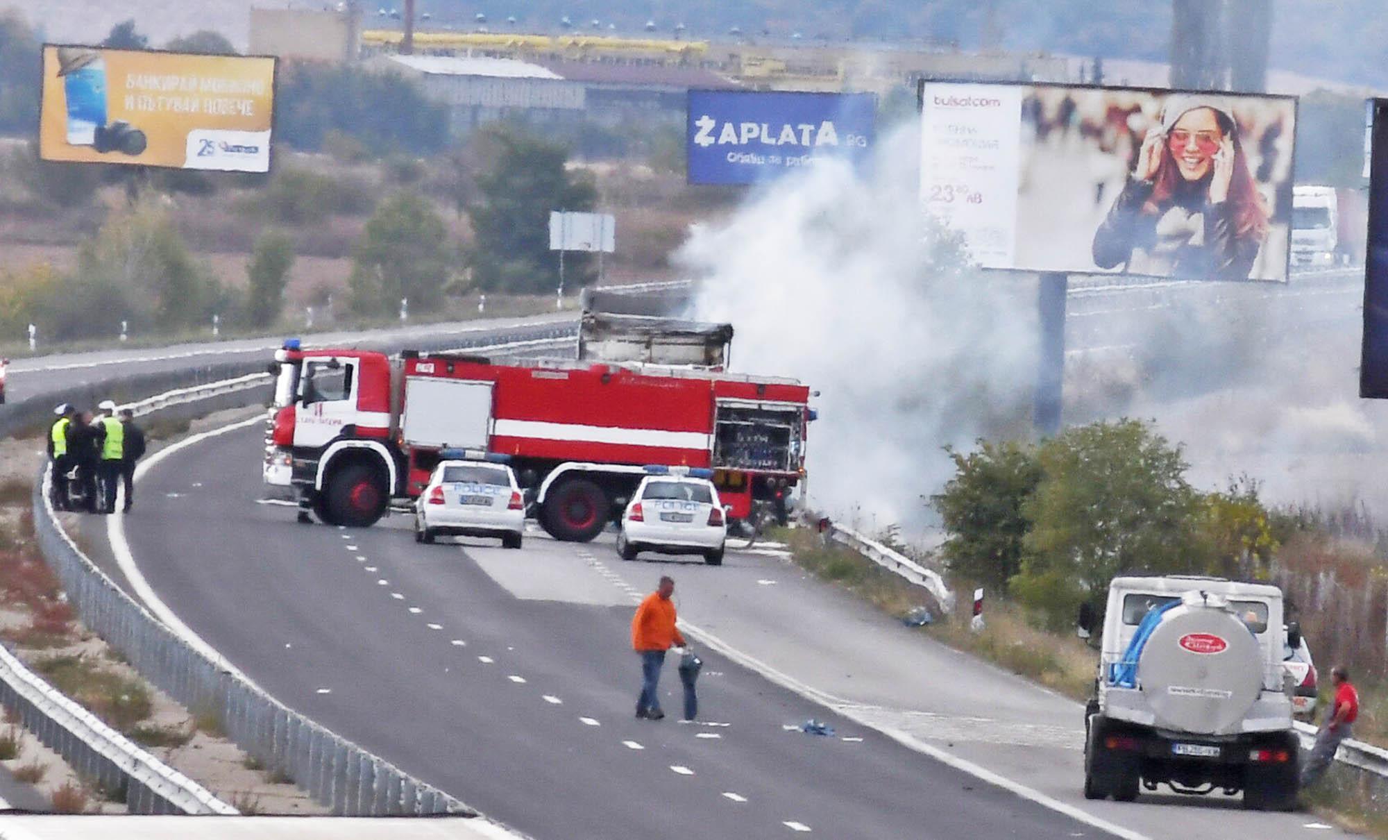 Камион се запали в движение на Цариградско шосе
