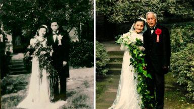 Семейни двойки пресъздават старите си снимки години по-късно