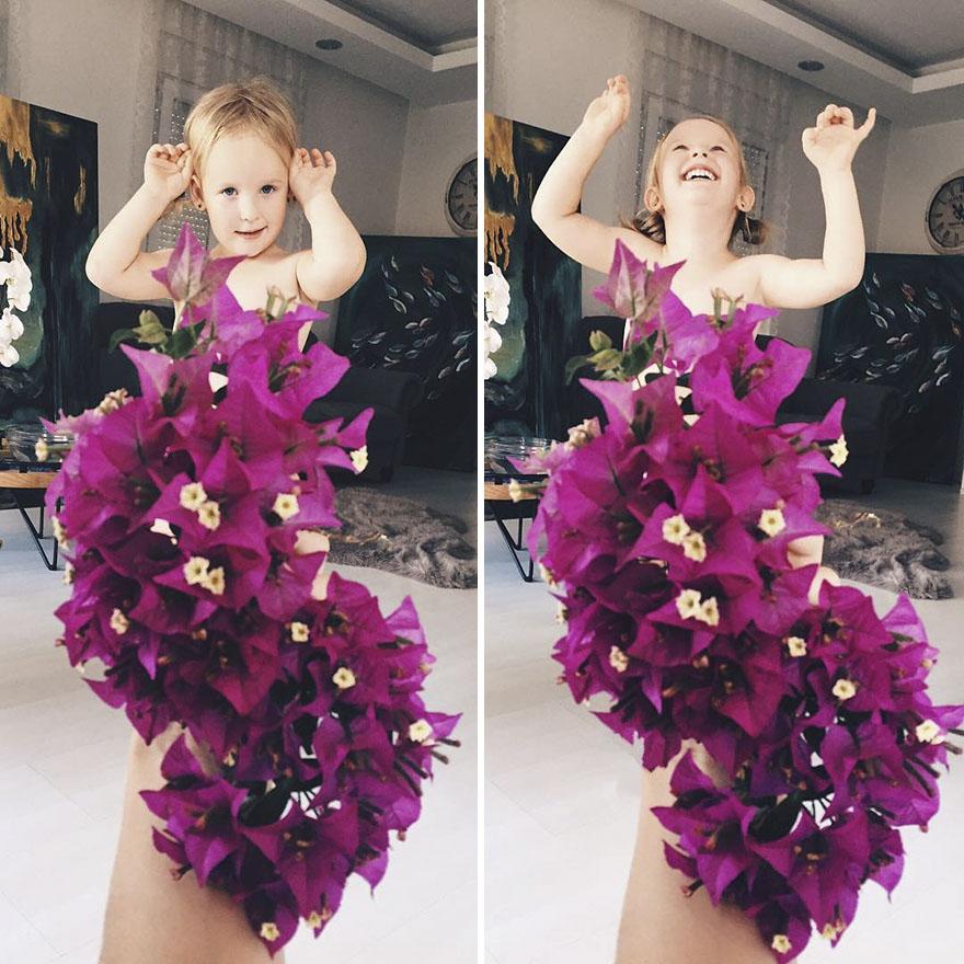 Майка и дъщеря създават модна фантазия с цветя