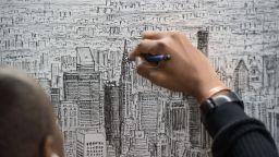Художник аутист погледнал Манхатън от хеликоптер и го нарисувал в детайли