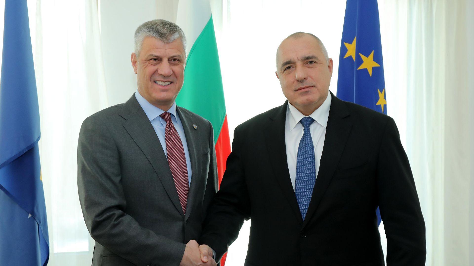Борисов ще разговаря с президента на Косово Хашим Тачи