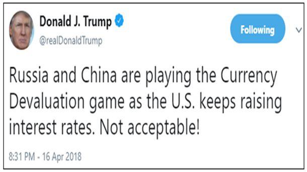 Доналд Тръмп обвини Русия и Китай, че девалвират техните валути, докато САЩ повишава лихвите