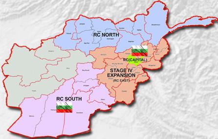 Карта на военната мисия в Афганистан