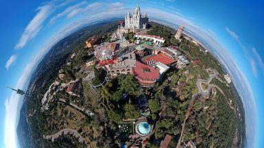 360-градусови въздушни снимки превръщат Барселона в малки планети
