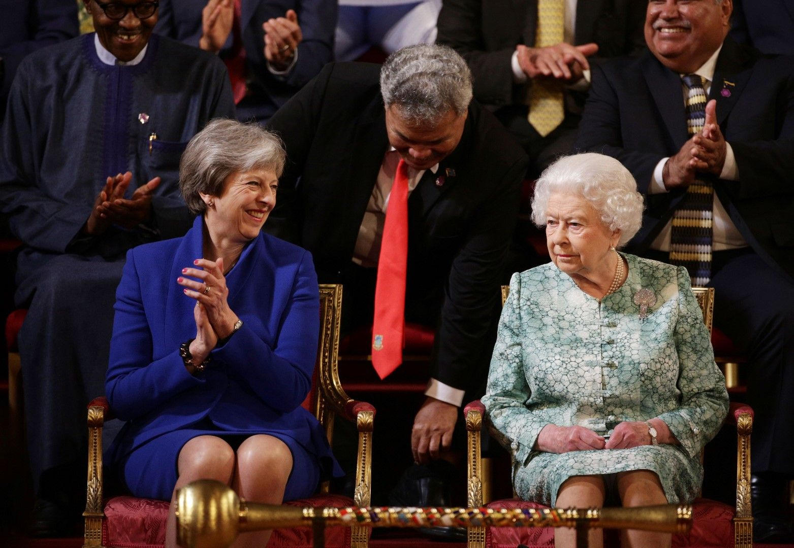 Тереза Мей и кралица Елизабет на среща на британската Общност на нациите