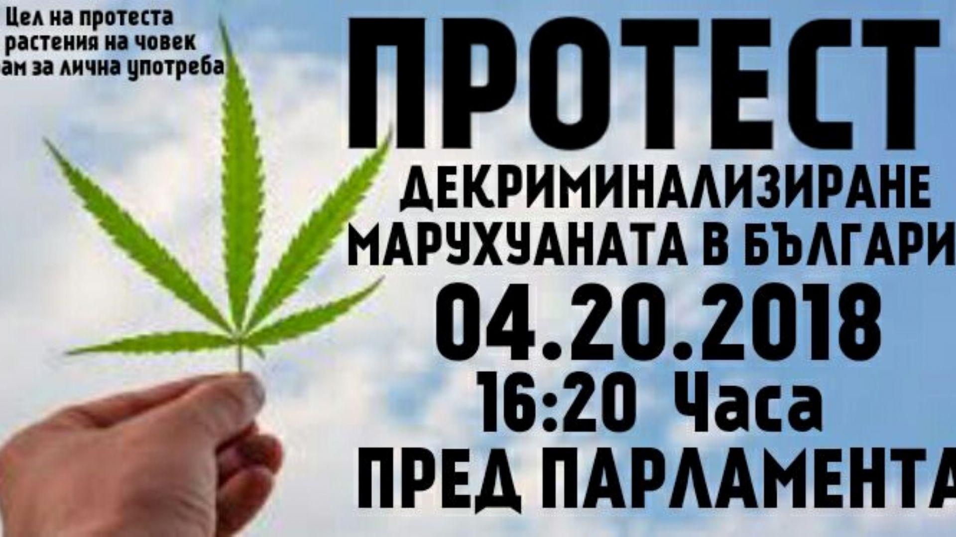 Протест пред парламента за декриминализиране на марихуаната
