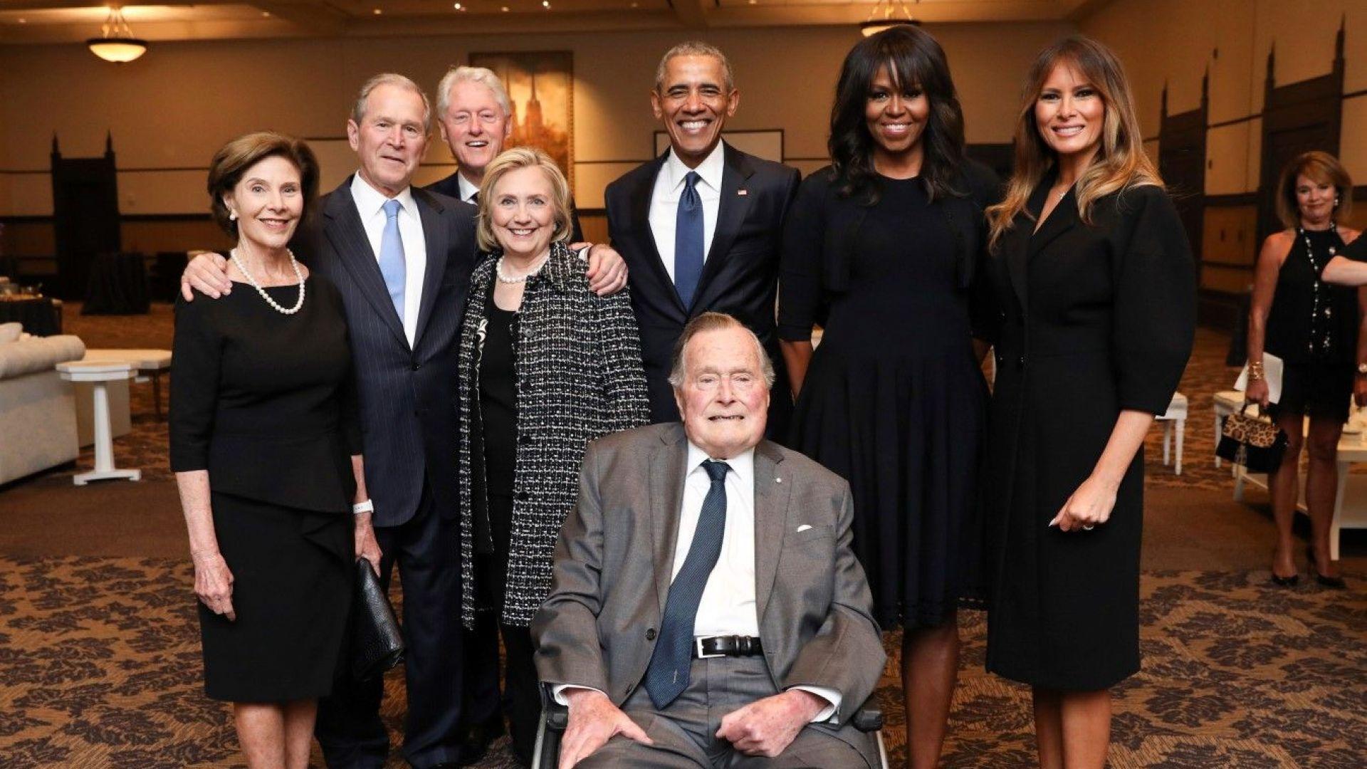 Четирима бивши президенти изпратиха Барбара Буш