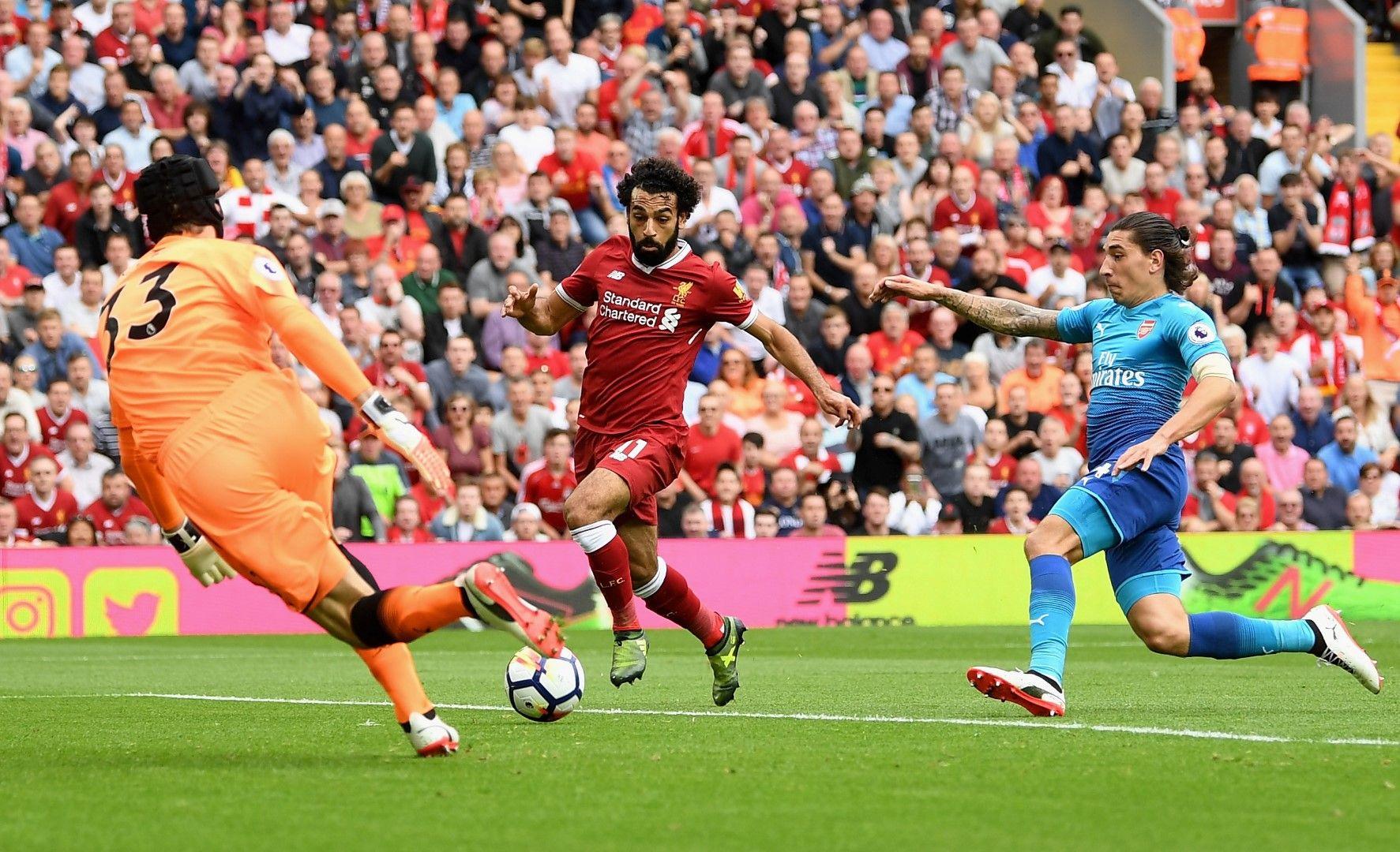 """Белерин е изпуснал Мо, Кайро е на път да изригне (""""Ливърпул"""" - """"Арсенал"""" 4:0). Снимка: Getty Images"""