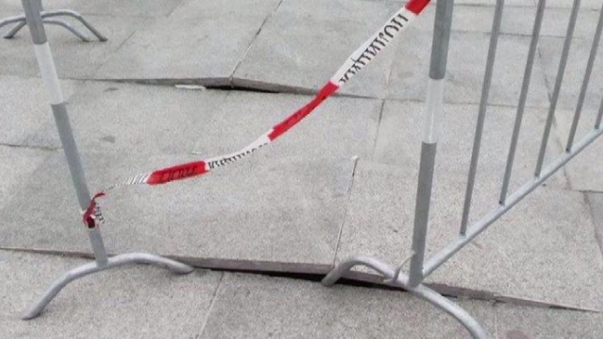 Пак ремонт пред НДК - новите плочки се надигнаха и напукаха