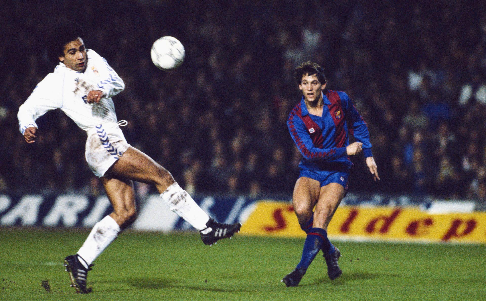 """Класика от 80-те: Двама от най-големите нападатели в света в онзи момент - Гари Линекер (""""Барса"""") и Уго Санчес (""""Реал""""). Снимка: Getty Images"""