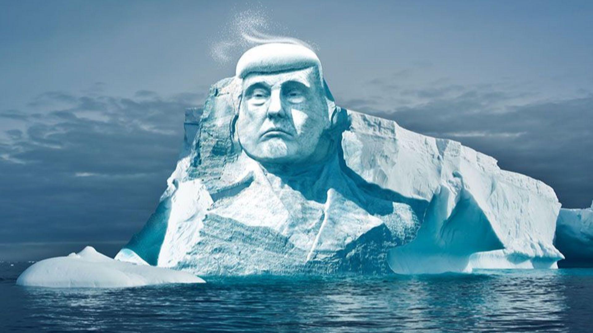 Изсичат главата на Тръмп върху айсберг