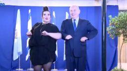 """Нетаняху изтанцува """"пилешкия танц"""" с победителката в """"Евровизия"""""""