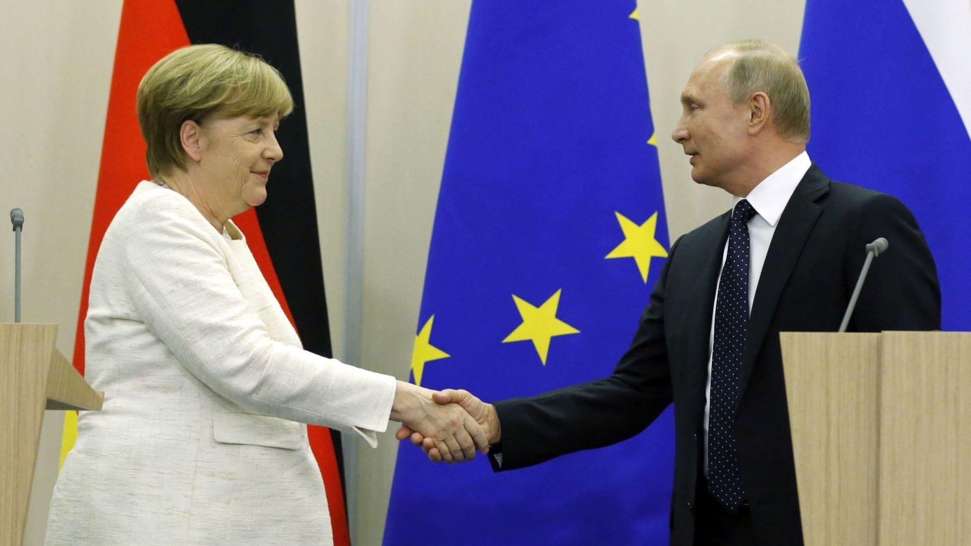 Меркел: Германия има стратегически интерес от добри отношения с Русия
