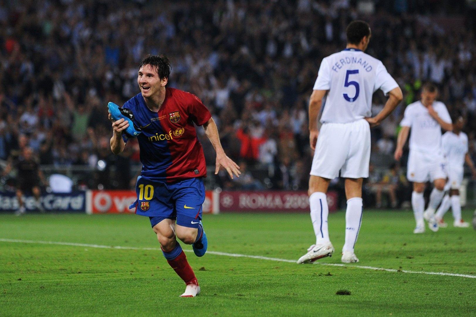 """Обувката на Лео Меси падна след гола срещу """"Юнайтед"""""""