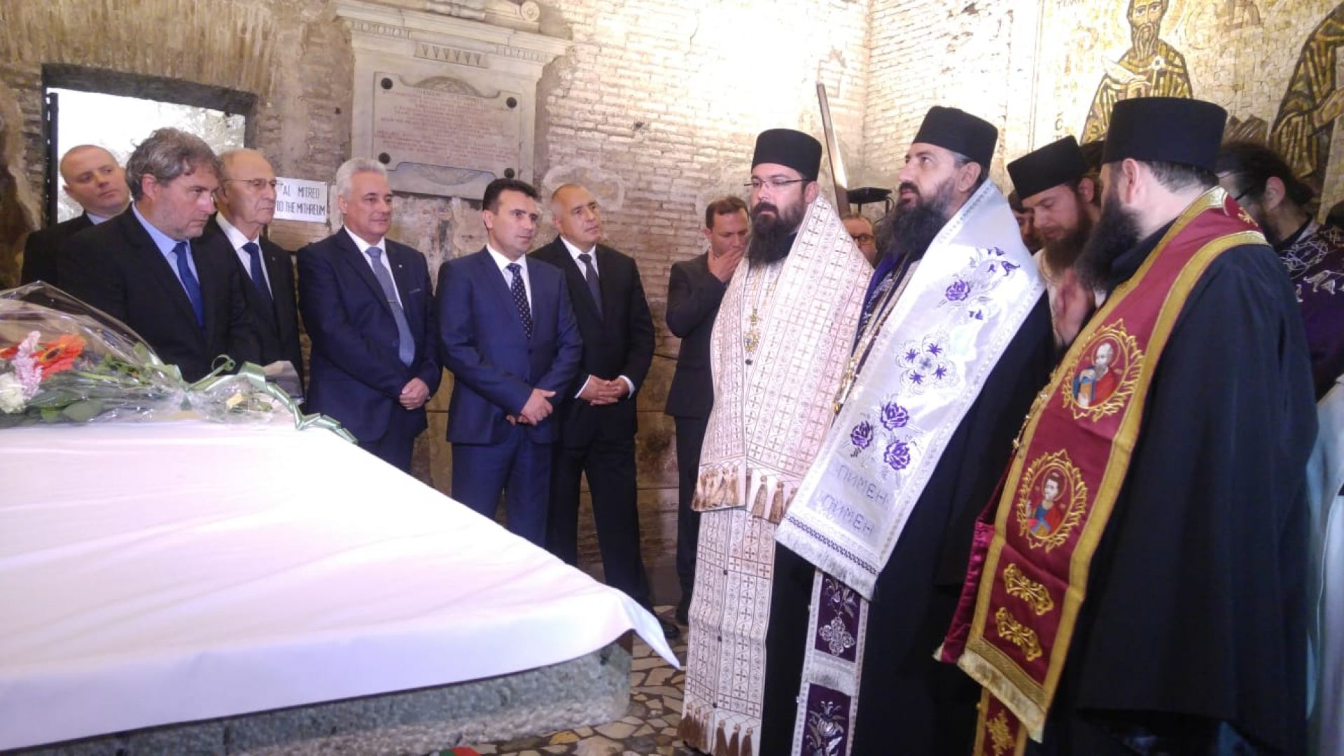 Борисов и Заев заедно на гроба на  Св. Константин Кирил Философ