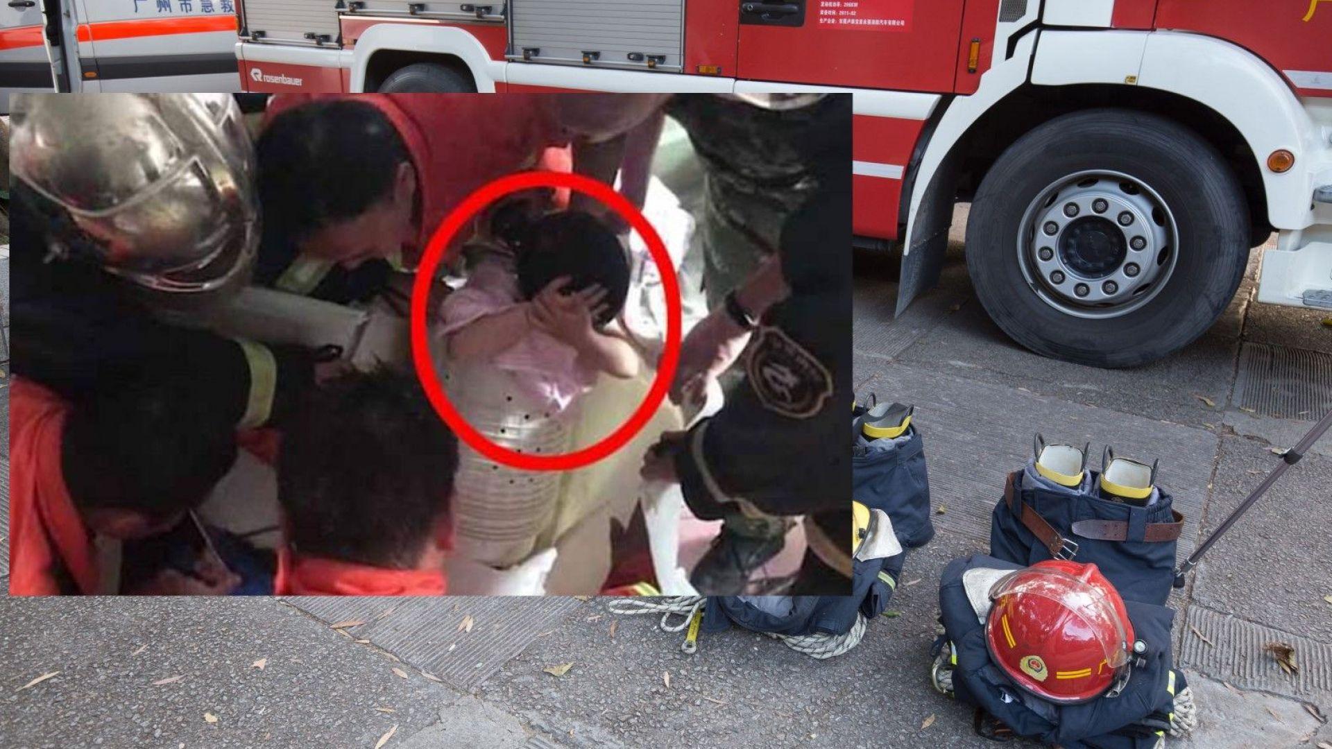8 пожарникари вадиха 4-годишно дете, заклещено в пералня (видео)