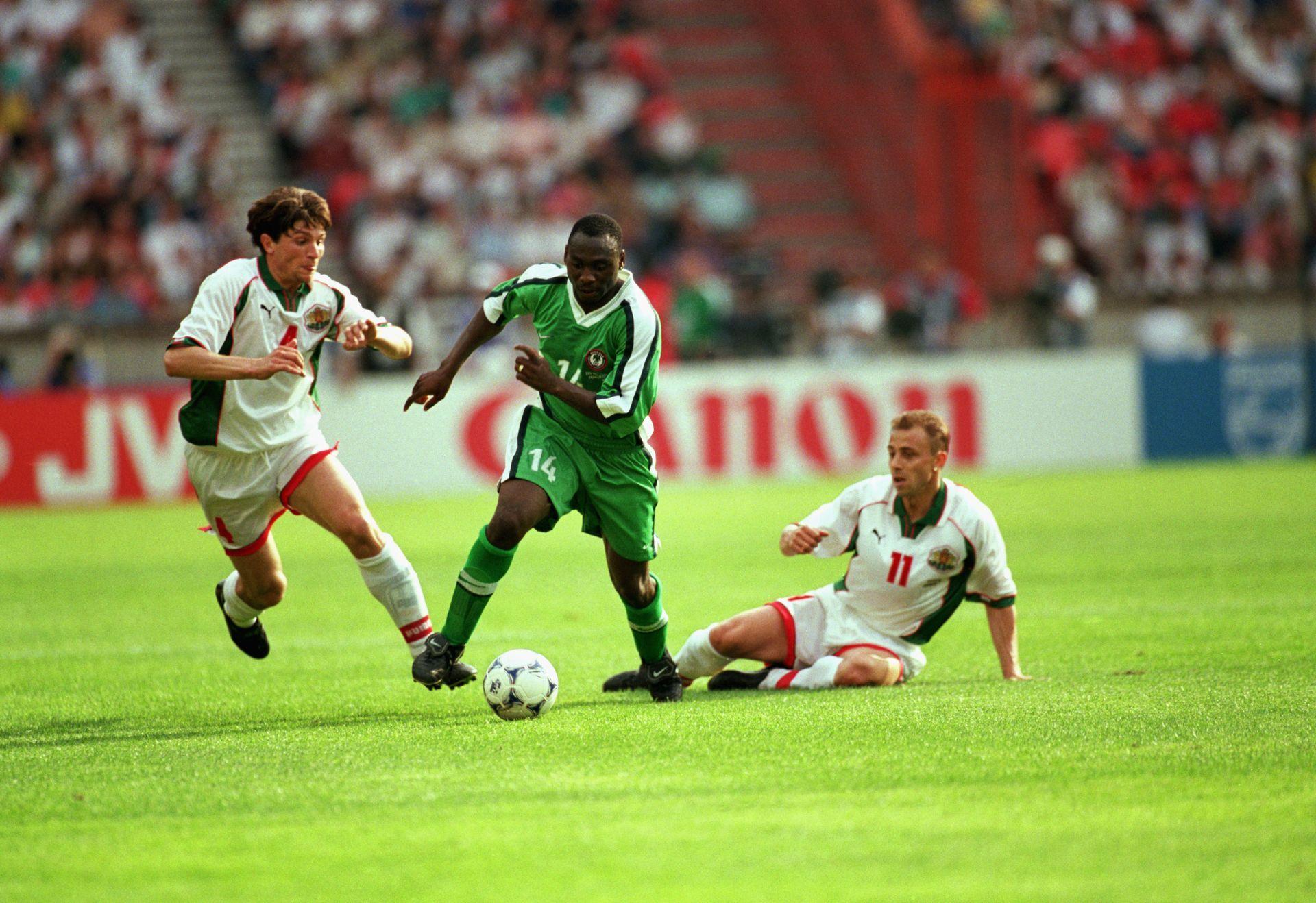 Ивайло Петков и Илиан Илиев в момент от мача срещу Нигерия на Мондиал 1998.