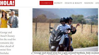 Амал и Джордж Клуни на мотор в Сардиния (снимки)
