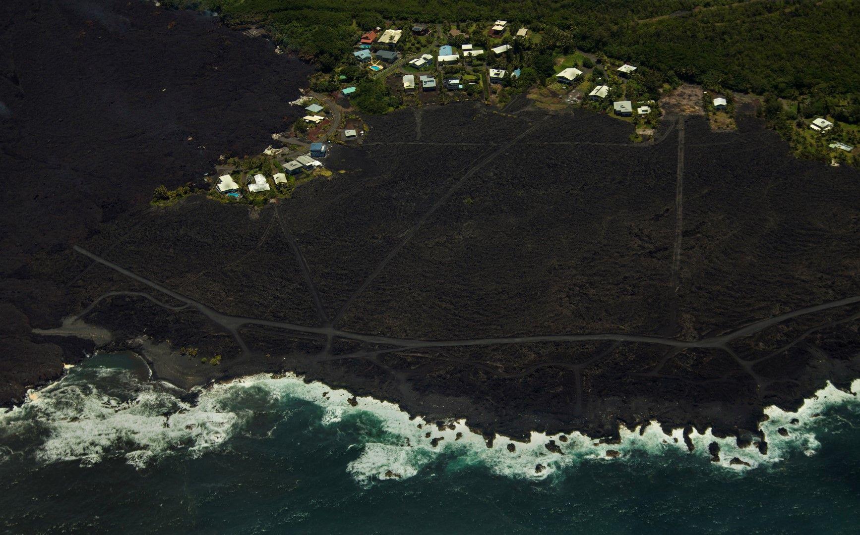 Снимка от въздуха на стария крайморски квартал, който вече е на 800 метра от океана