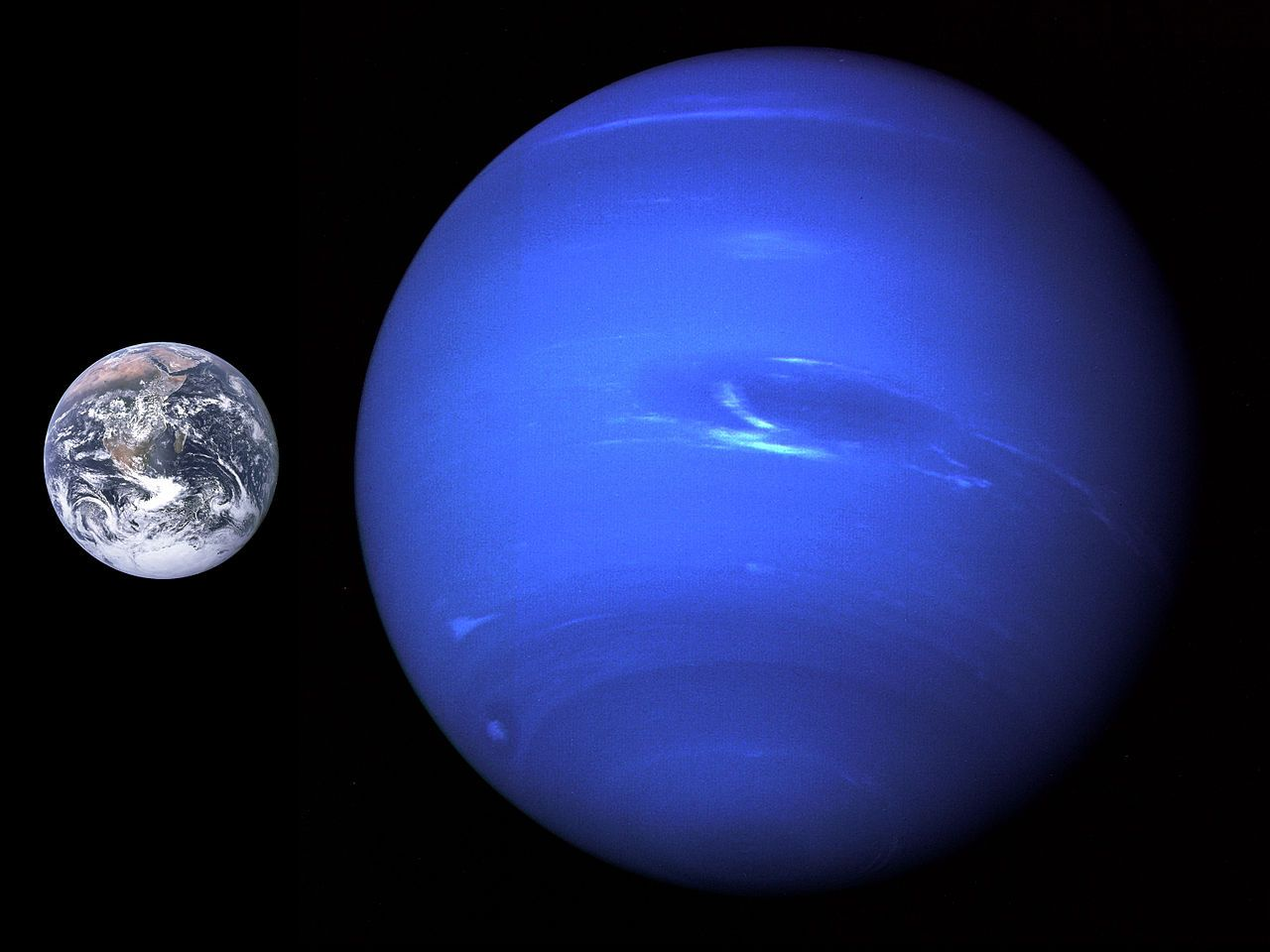Нептун, сравнен със Земята