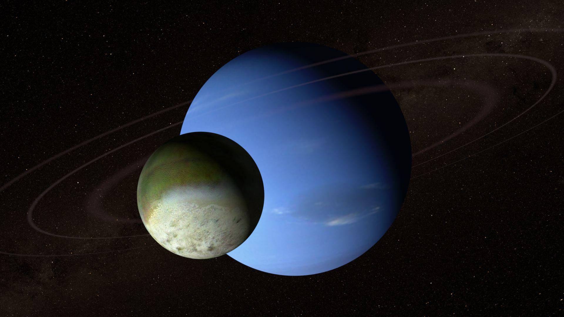 Компютърно изображение на Нептун, пръстените на планетата и Тритон