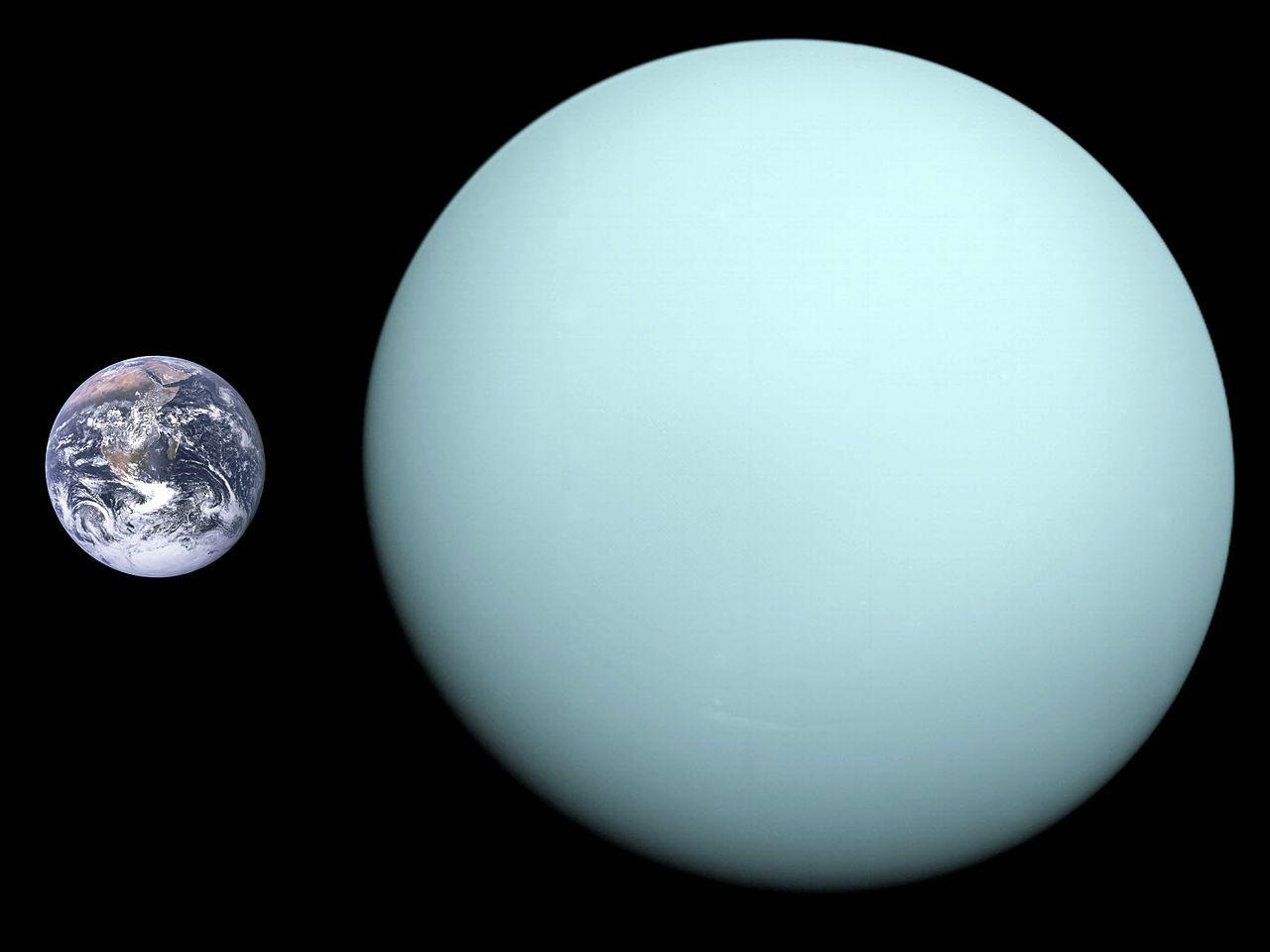 Земята, сравнена с Уран