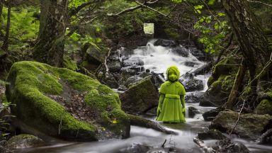 Мистериозни деца, покрити с мъх, бродят около дома на финландски скулптор