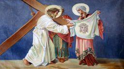 Кърпата, с която Св. Вероника попила кръвта от лицето на Спасителя по пътя към Голгота, запазила образа му
