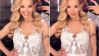 Вижте булчинската рокля на Емилия (снимка)