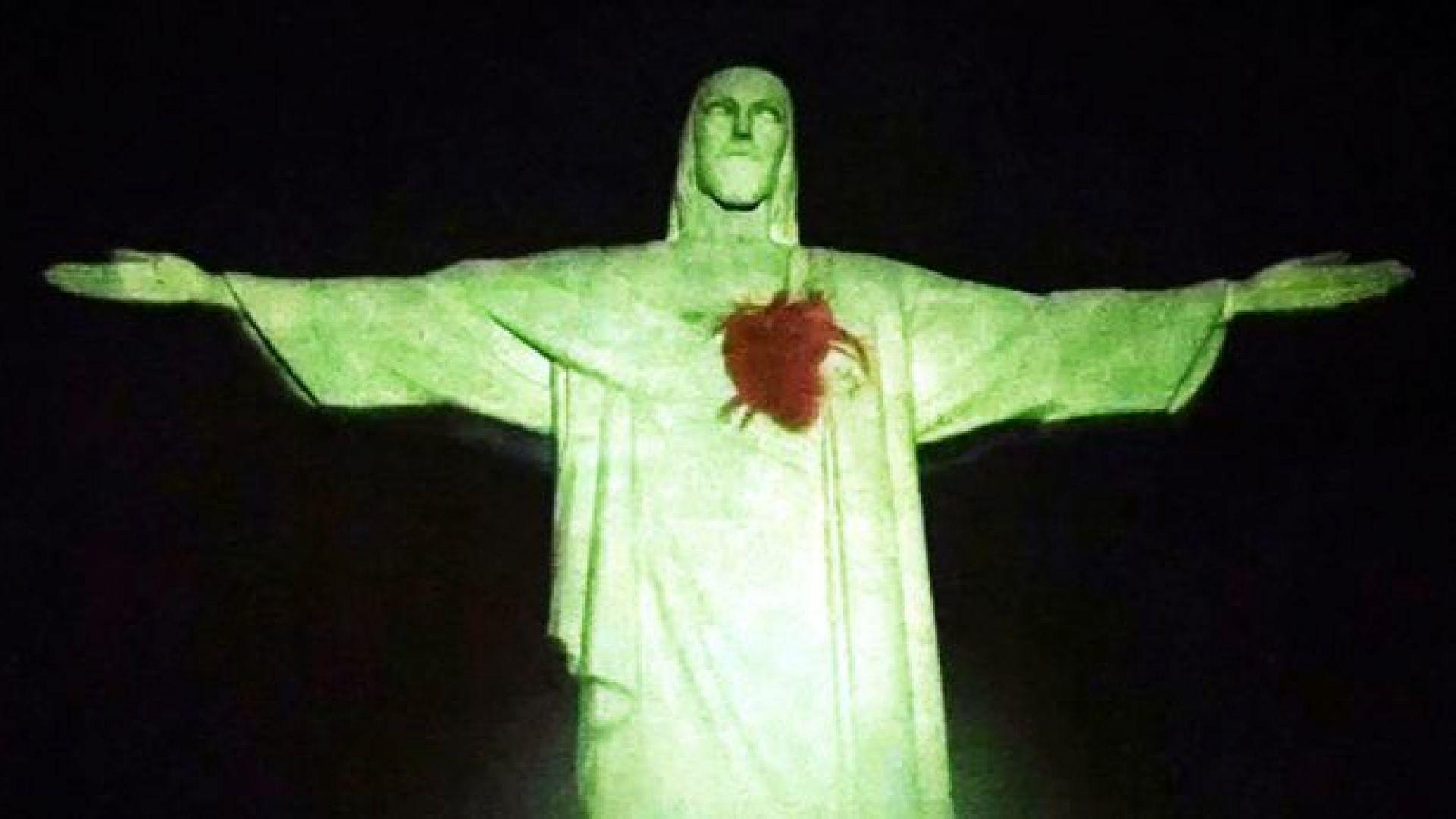 Светещо сърце се появи на статуята на Христос в Рио