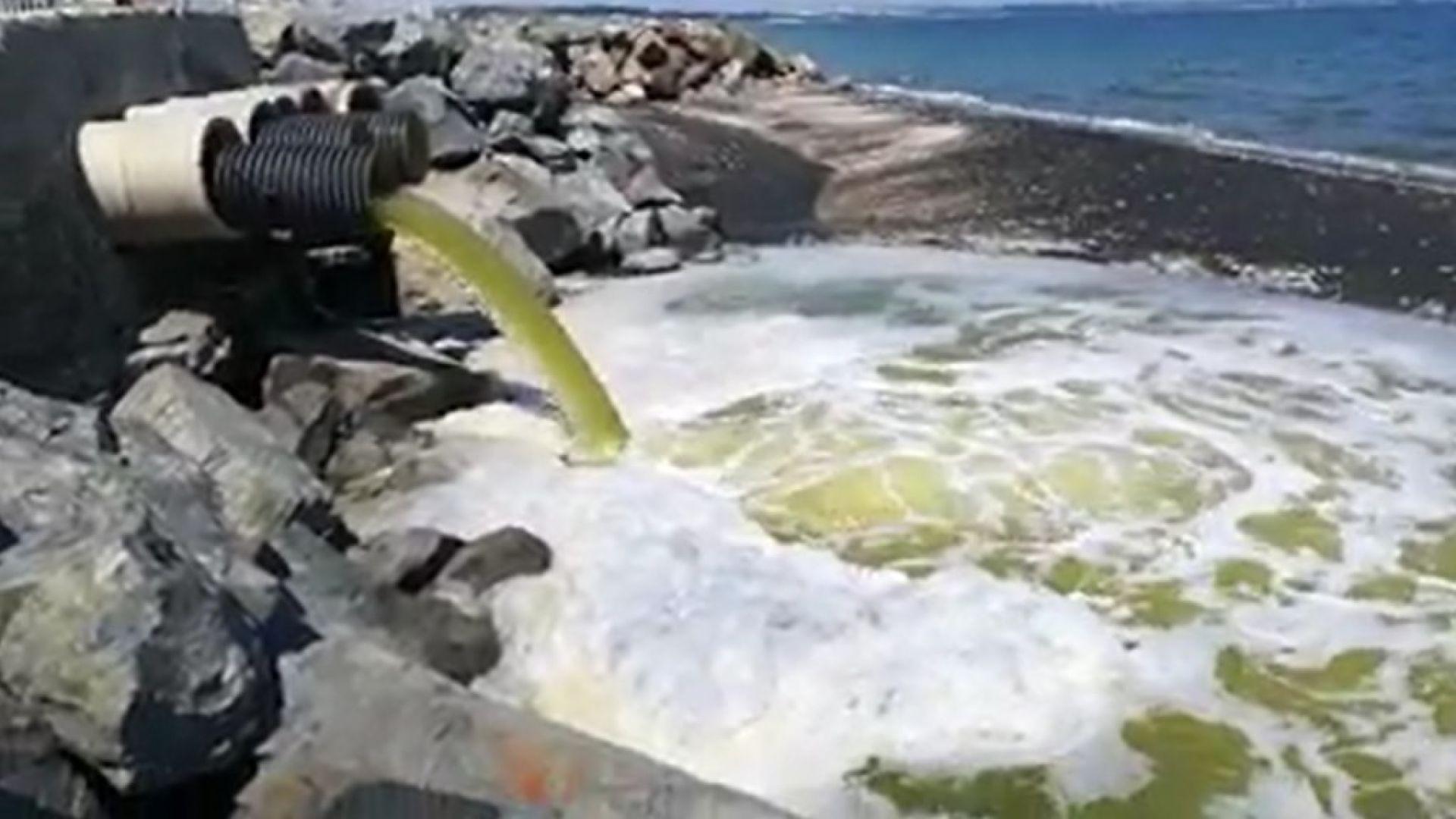 Жълто-зелени води се изливат в морето край Бургас (видео)