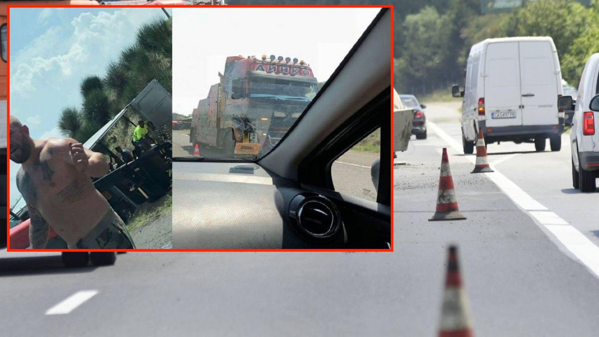"""Динко Вълев се включи в отпушването на магистрала """"Тракия"""""""