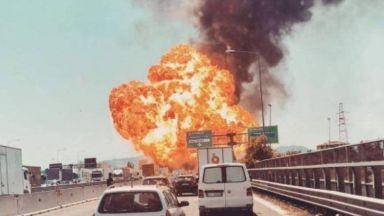 Огромна огнена топка избухна край летището в Болоня (видео)