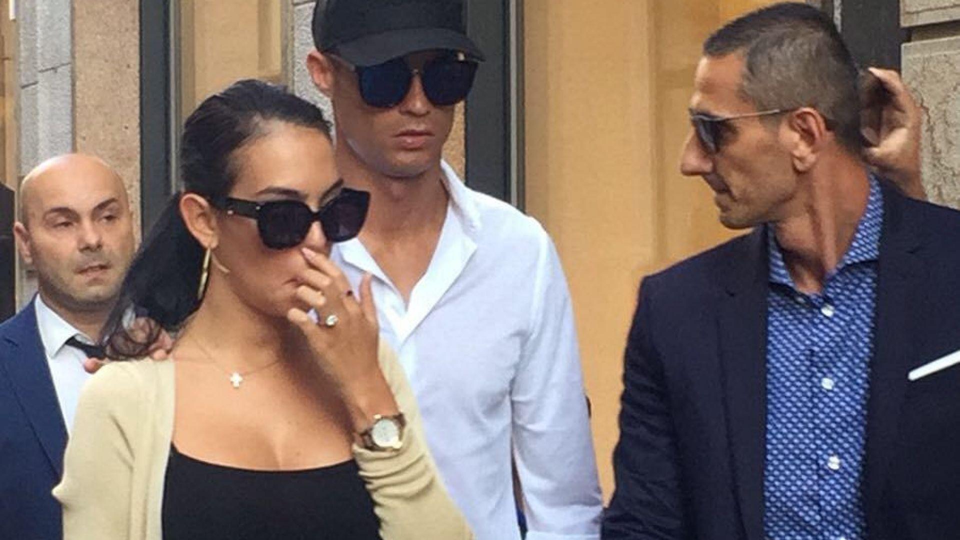 Масова истерия в Милано: Роналдо и Джорджина излязоха на улицата (снимки)