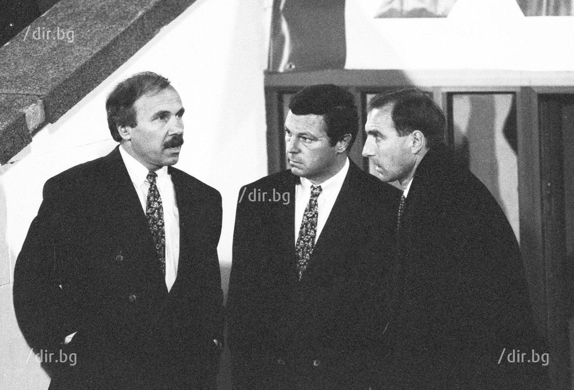 """Василев и щабът му през 1993 г., по време на мача """"Левски"""" - """"Вердер"""" (2:2), квалификация за груповата фаза на Шампионската лига."""