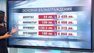 Заплатата на президента става 6858 лева, на премиера-5300 лева