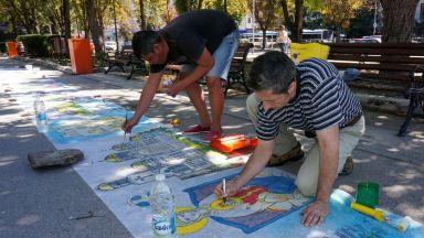 Художници с 20 метрова рисунка за празника на Варна