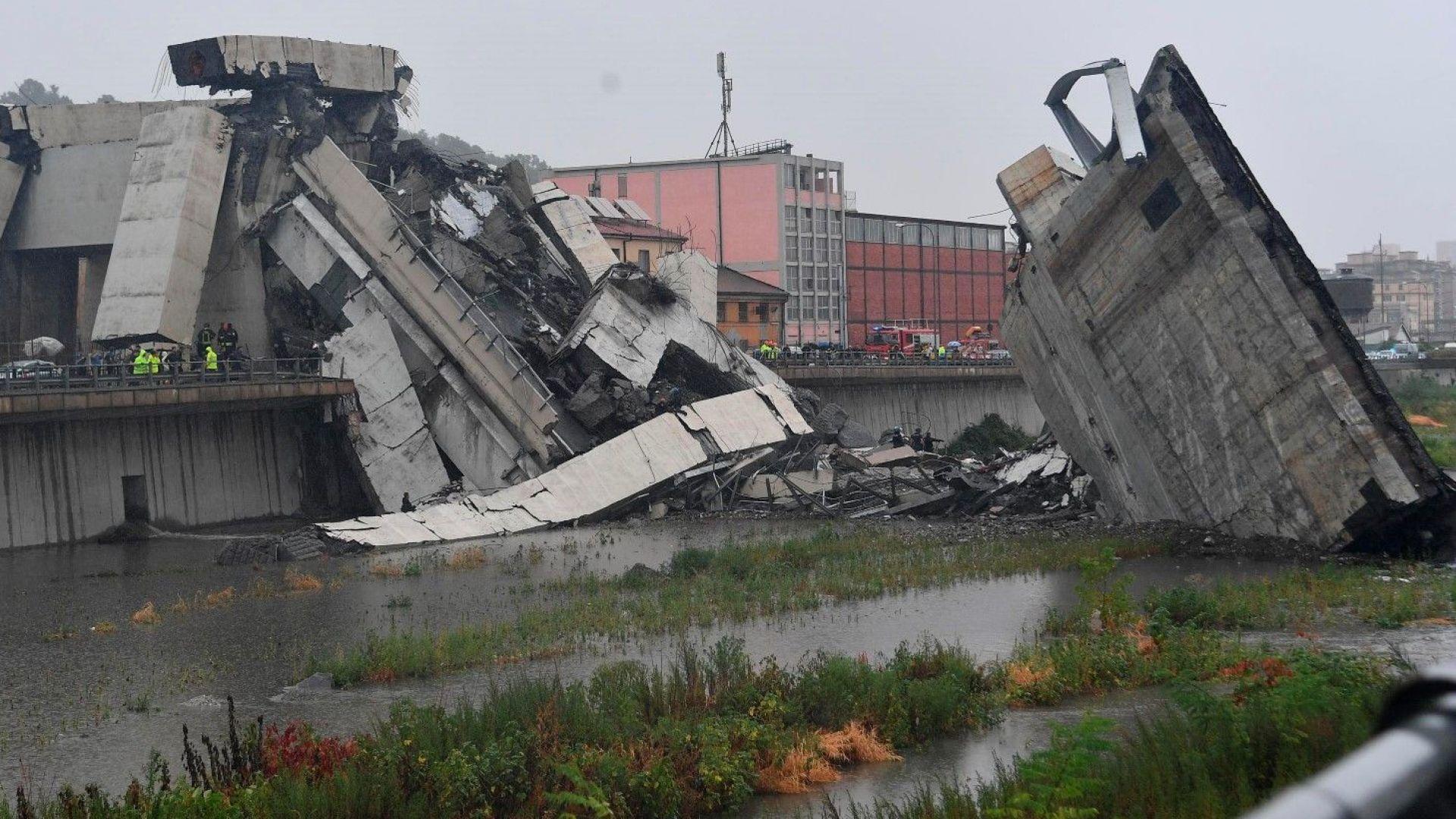 11 жертви при рухналия виадукт в Генуа (видео+снимки)
