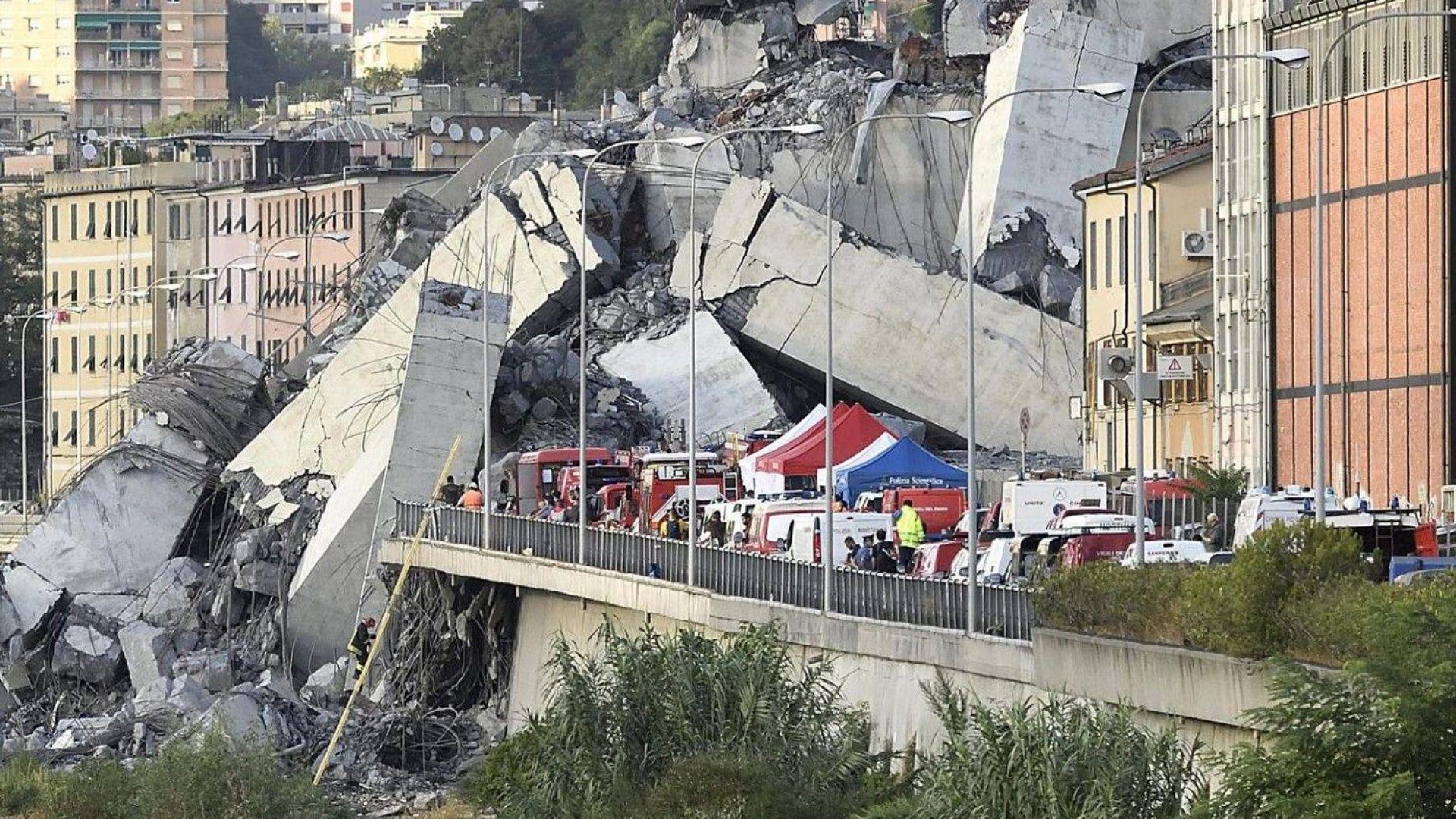Полицията пусна кадри от срутването на моста в Генуа (видео)
