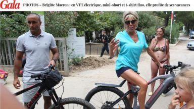 Брижит Макрон (65) впечатли със стегнати крака по време на велопоход
