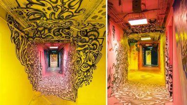 Училище помоли графити артисти да изрисуват коридорите преди ремонта. Резултатът е смайващ
