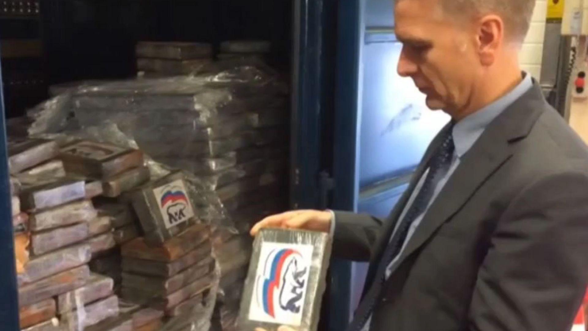 """2 т кокаин с логото на """"Единна Русия"""" задържани в Белгия (видео)"""
