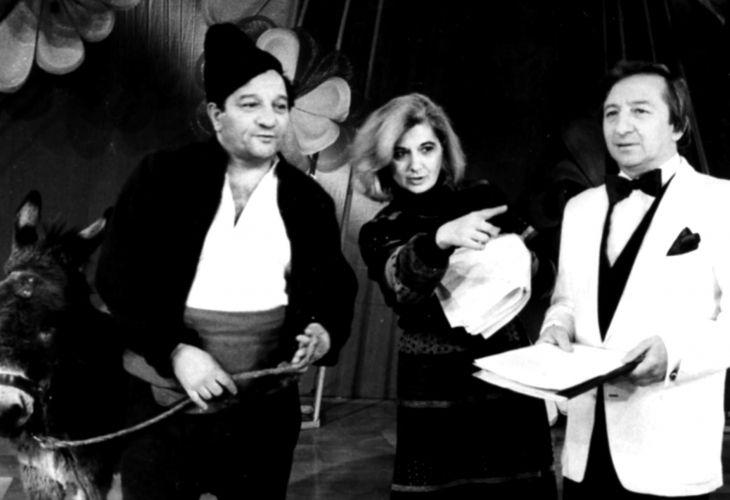 Ласка Минчева, в началото на кариерата си - по време на снимки с актьорите Никола Анастасов и Димитър Манчев