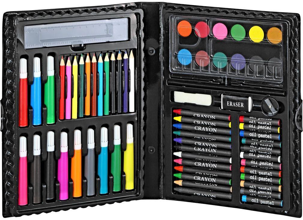 Комплект за рисуване с цветни моливи, маслени и сухи пастели, водни бои, палитра, флумастери, линийка, гумичка, острилка (7.99 лв.)