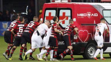 Шофьор закъса на терена в хаоса на бразилското супердерби (видео)