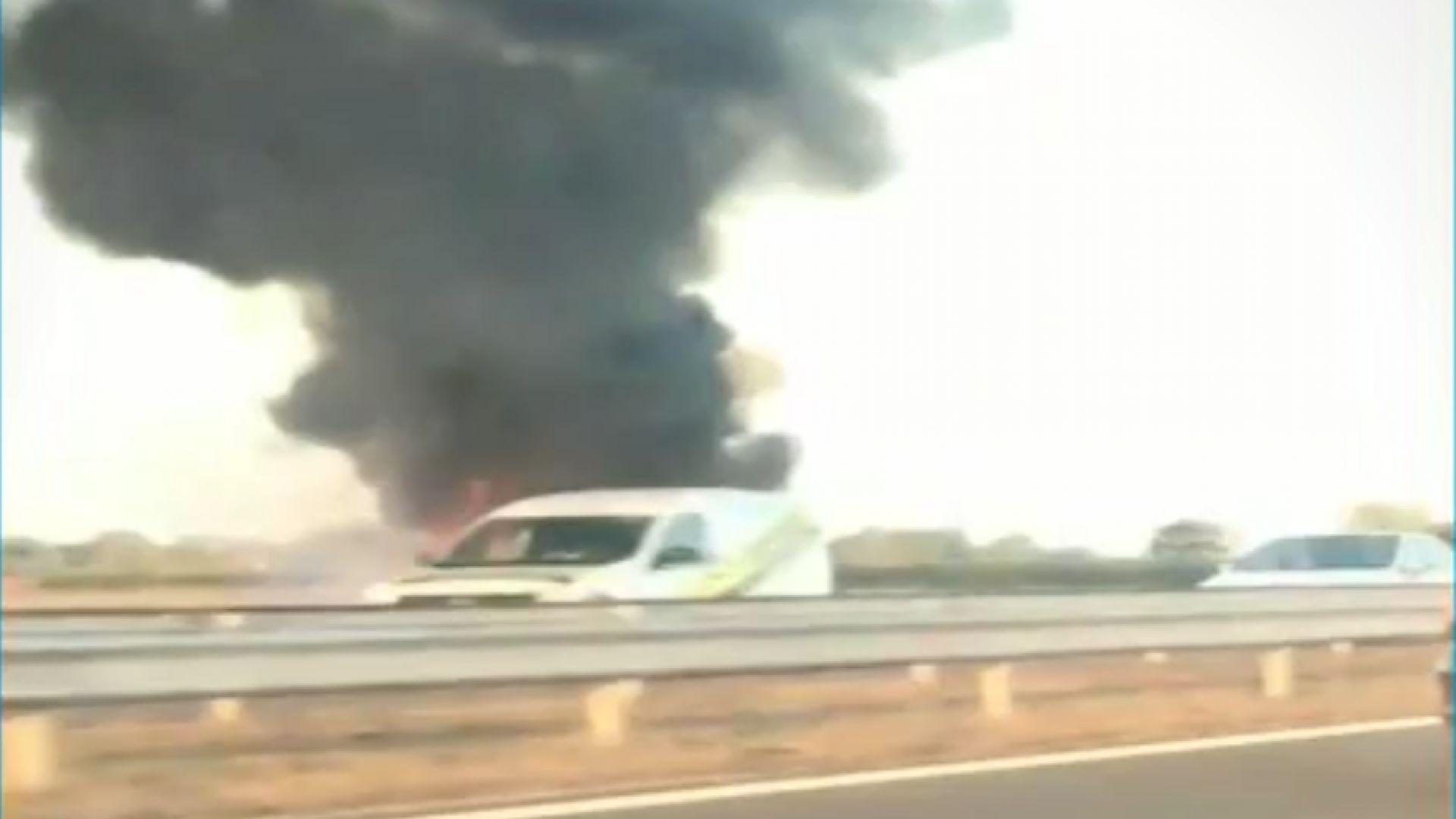 Тази сутрин лек автомобил се запали в движение на 102-рия