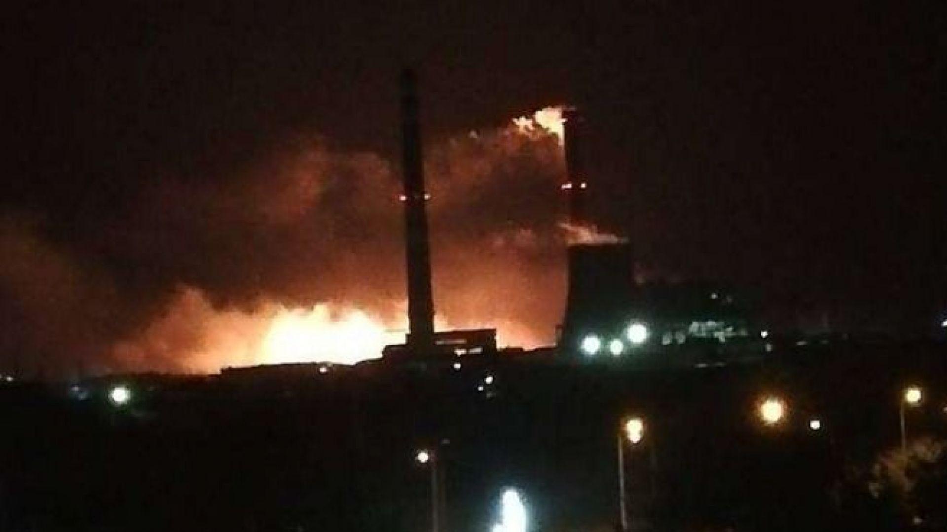 Голям пожар се разрази в двора на ТЕЦ